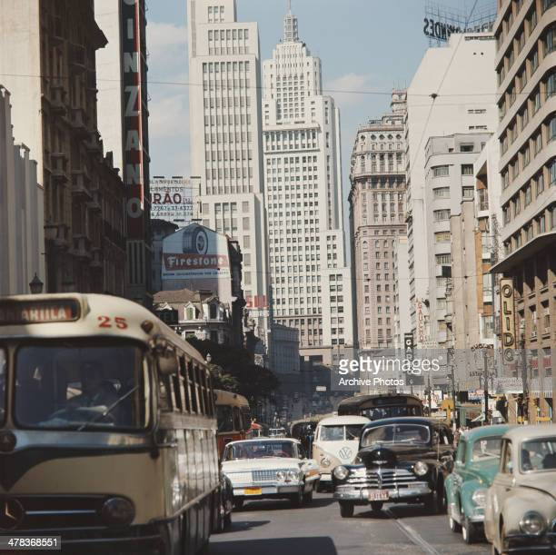 A street leading to the Altino Arantes Building or Banespa Building in Sao Paulo Brazil circa 1960