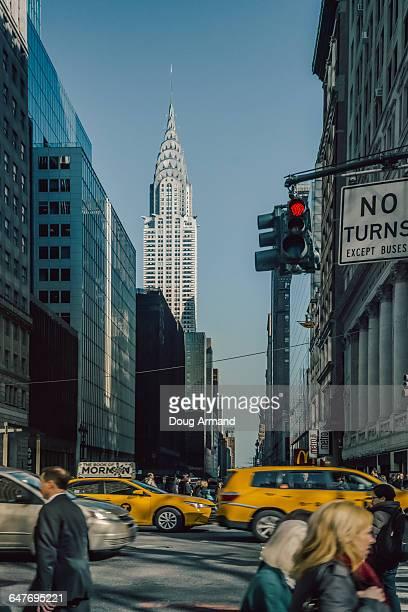 Street level view of Chrysler Building