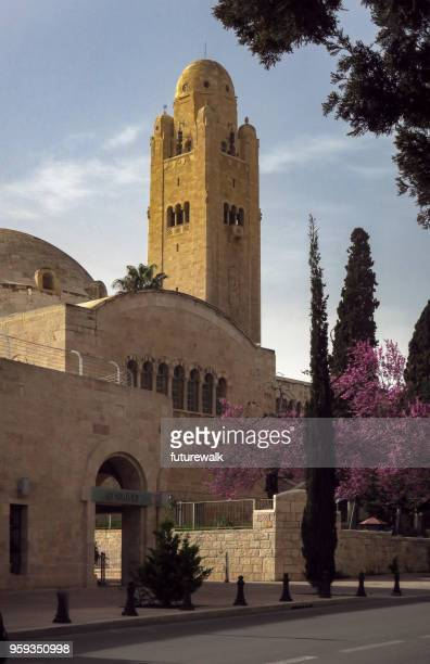street level view of the iconic Jerusalem YMCA tower.  March 8, 2018, Jerusalem, Israel