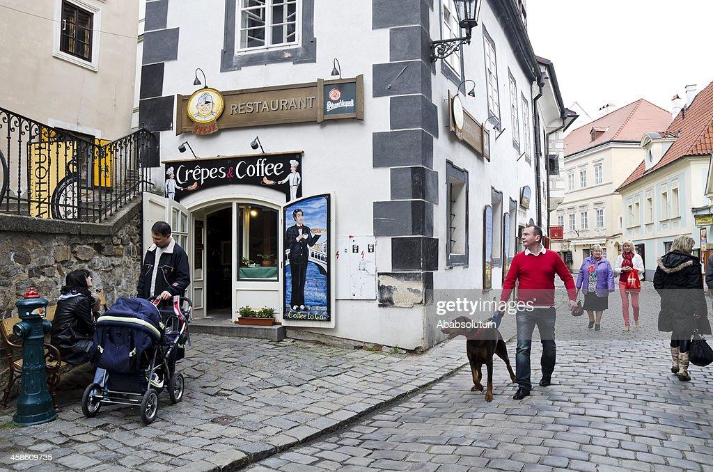 Street Life in Česky Krumlov Europe : Stock Photo