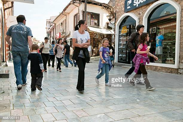 street life in ohrid macedonia - pavliha stock photos and pictures