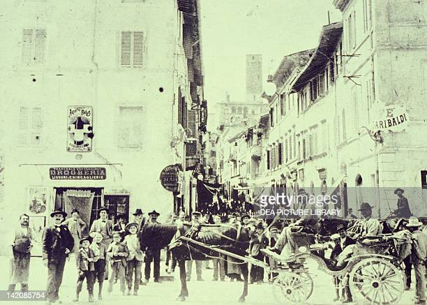 Street life in Spoleto at the beginning of the 1900s Italy 20th Century