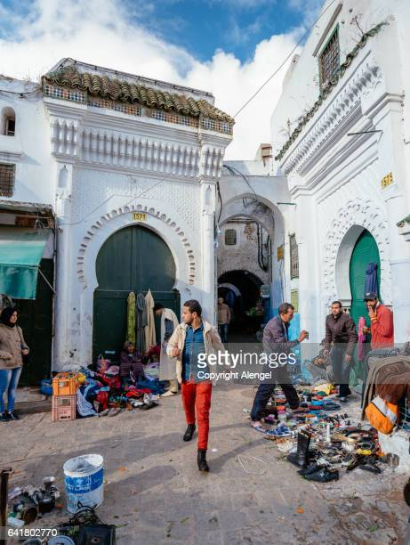 street life in tetouan morocco. - tetouan stock photos and pictures