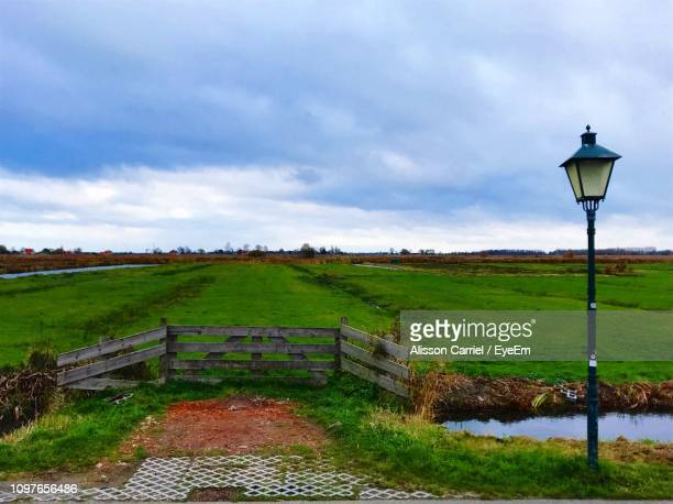 street light on field against sky - alisson stock pictures, royalty-free photos & images