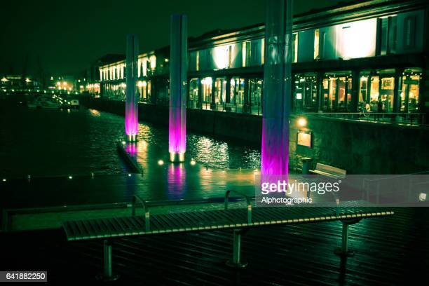 street lighting at night in central bristol. - bristol stock photos and pictures