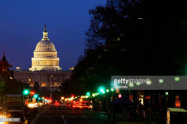 Street lights and US Capitol Building