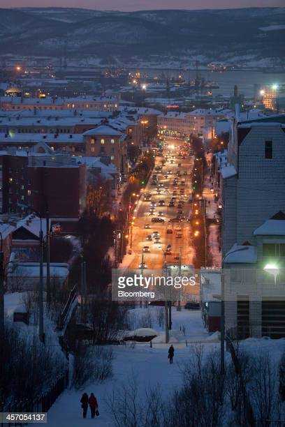 Street lights illuminate a highway during a polar night in Murmansk Russia on Saturday Dec 14 2013 The threeweek long Ukrainian protests are...
