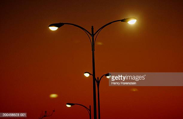 street lights illuminated at dusk, low angle view - henry street stock pictures, royalty-free photos & images