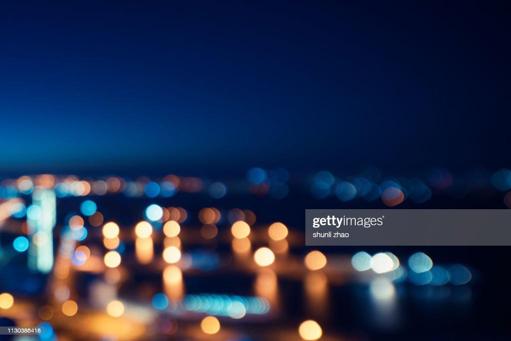 Street lights of urban city street at night : Stock Photo