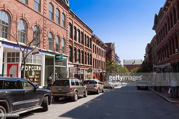 Street Lined with Stores in Downtown Portland, Maine, USA.