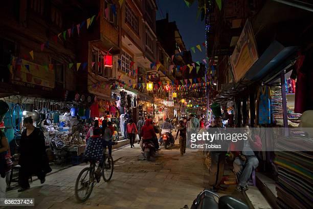 Street lit by Lanterns at Night in Thamel, Kathmandu, Nepal