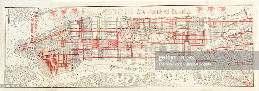 Street Map Of Manhattan And The Bronx New York City 1900 Black