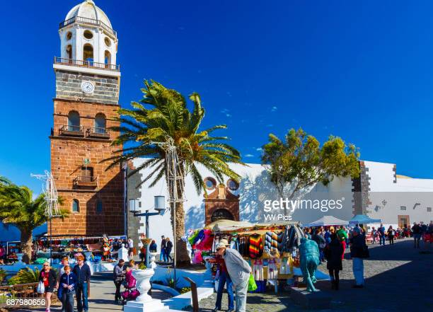Street market and Nuestra Se–ora de Guadalupe Church Teguise Lanzarote Canary islands Spain Europe