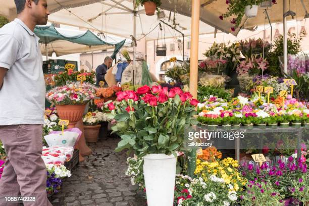 Street market at Campo de Fiori in Rome in Italy