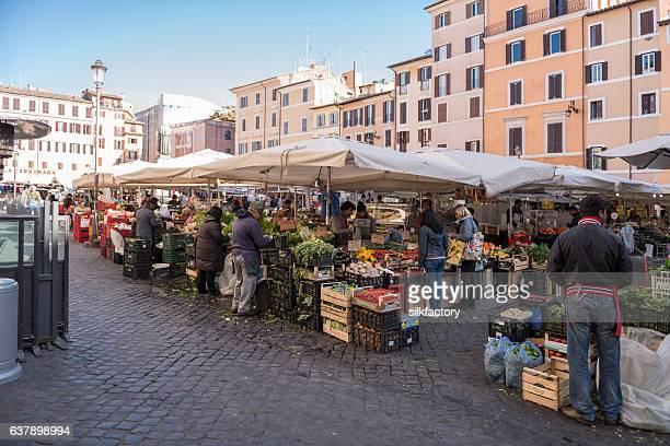 Street market at Campo de Fiori in Rome