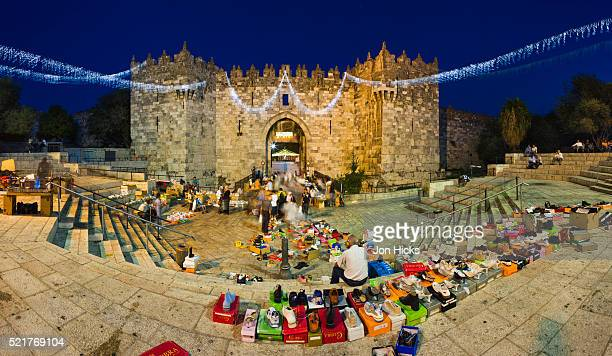 Street Market at Damascus Gate at Dusk During Ramadam