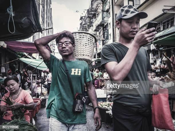 street market chinatown yangon myanmar - myanmar stock pictures, royalty-free photos & images