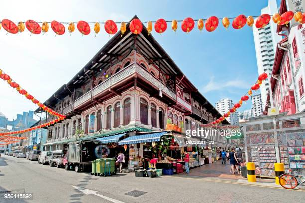 street market corner, chinatown, outram, singapore, malaysia - chinatown stock photos and pictures
