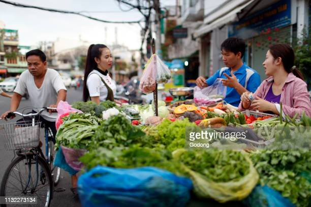 Street market Fresh vegetables stall Ho Chi Minh City Vietnam