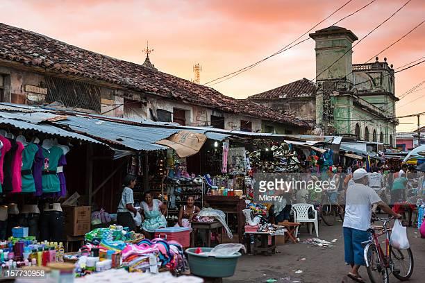street market granada nicaragua at sunset - granada stock photos and pictures