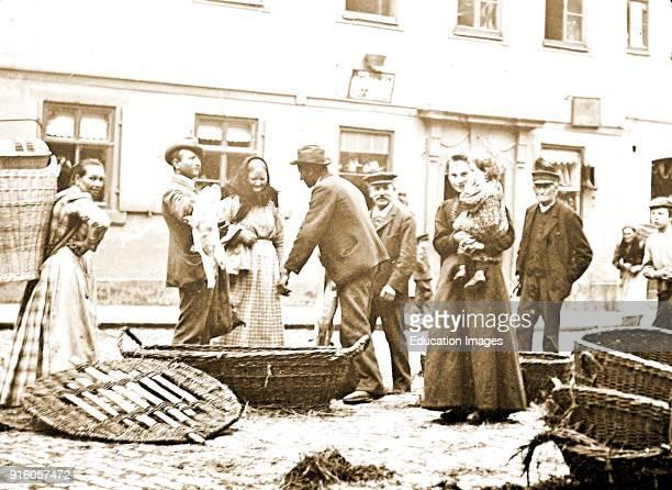 Street Market Scene Coburg Germany Vintage Photograph