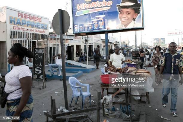 A street market scene in Matonge district in Kinshasa Congo DRC