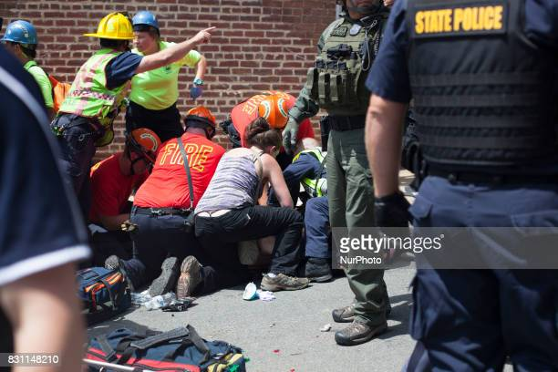 Street Medics and EMS tried to use CPR to bring back Heather Heyer but it was unsuccessful on 12 August 2017 in Charlottesville Virginia USA The...