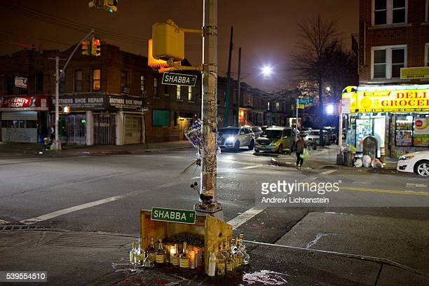 A street memorial on Church Avenue marks the spot where Darnell Faustin a 30 year old local was shot and killed in Brooklyn