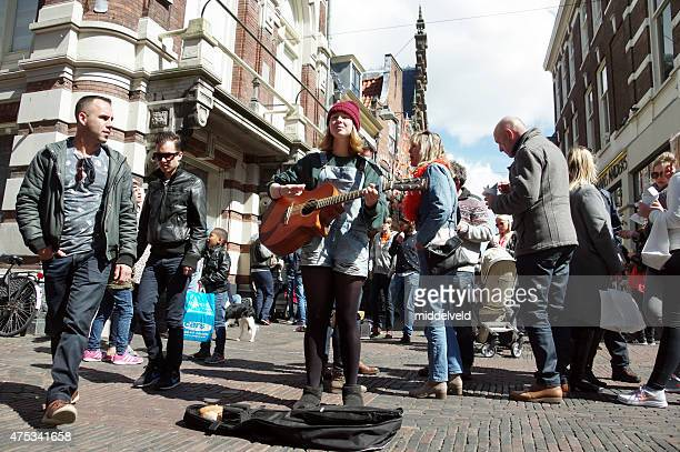 Street musician at Koningsdag