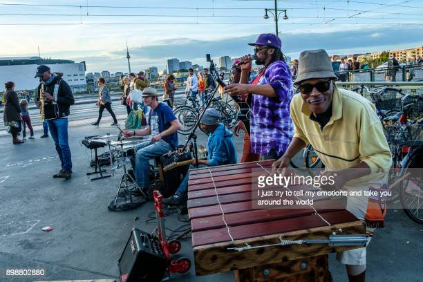 Berlin, Germany - September 21, 2015: street musician at railroad station