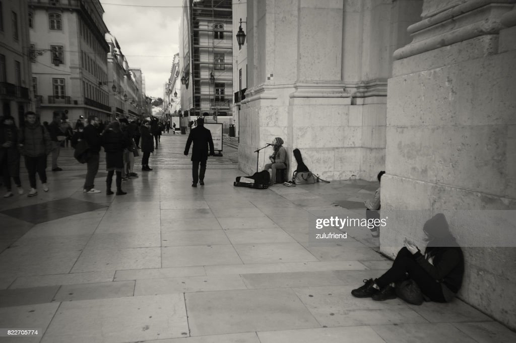 Street Musician in Lisbon : Stock Photo