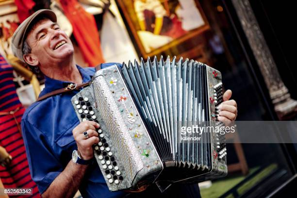 A street musician playing accordion in Istanbul
