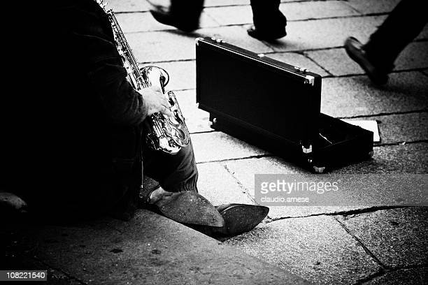 Street Musician Playing Saxophone, Black and White