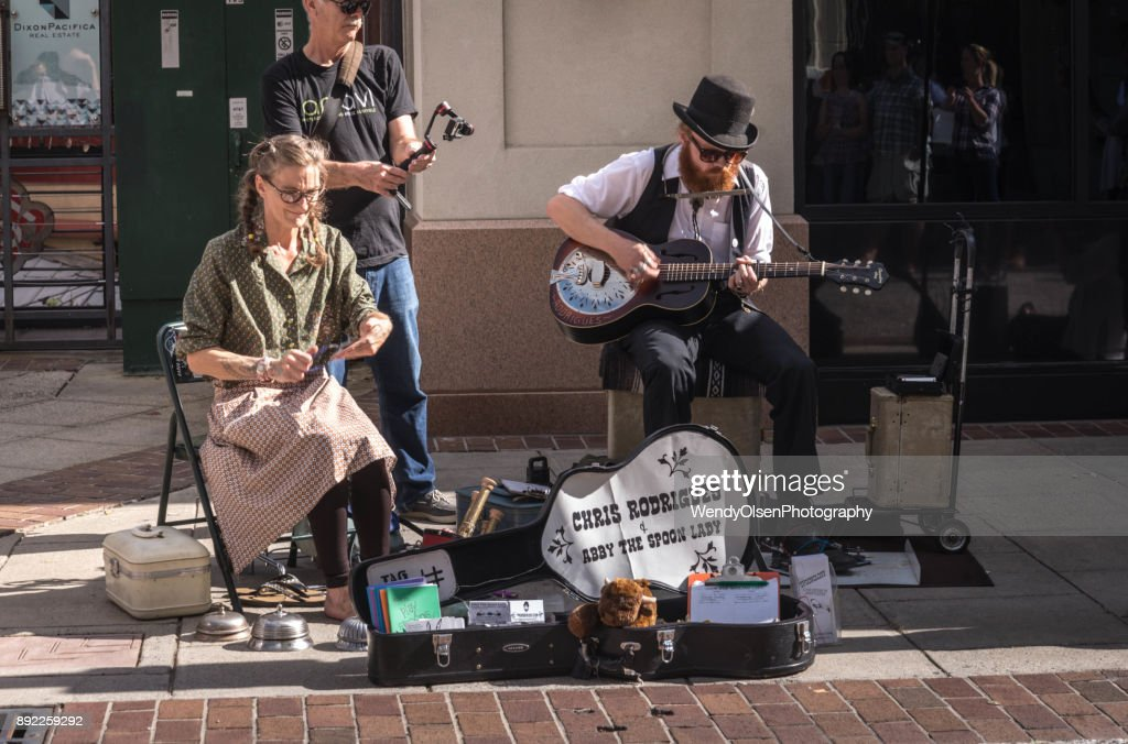 Street musicians Asheville : Stock Photo