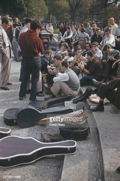 Street musicians in Washington Square Park Greenwich Village Lower Manhattan New York City US 1962