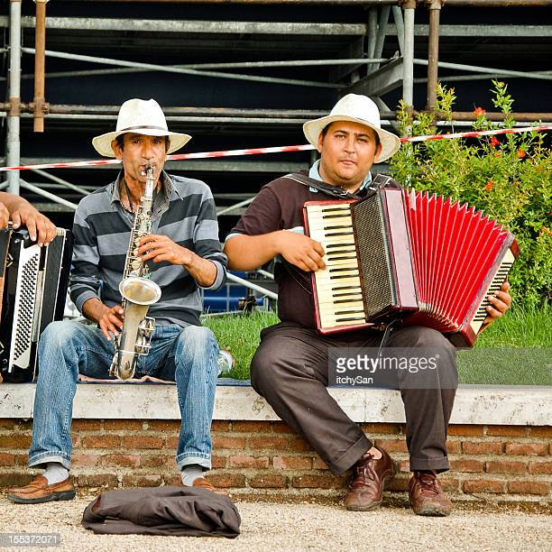Street musicians playing