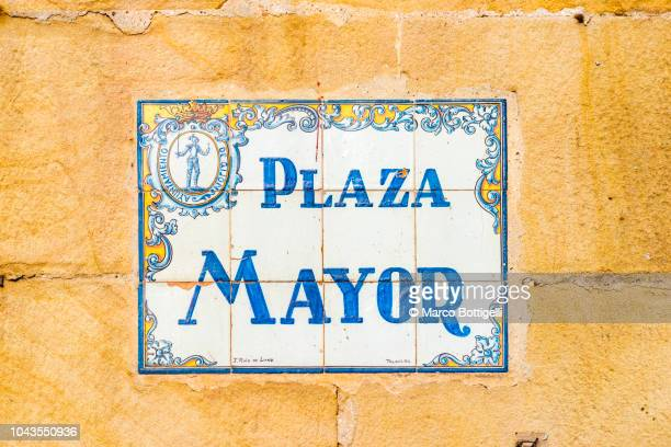 street name sign in gijon, spain - nameplate stock pictures, royalty-free photos & images