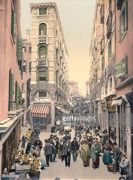 Street near the Rialto bridge Venice Italy between 1890 and 1900