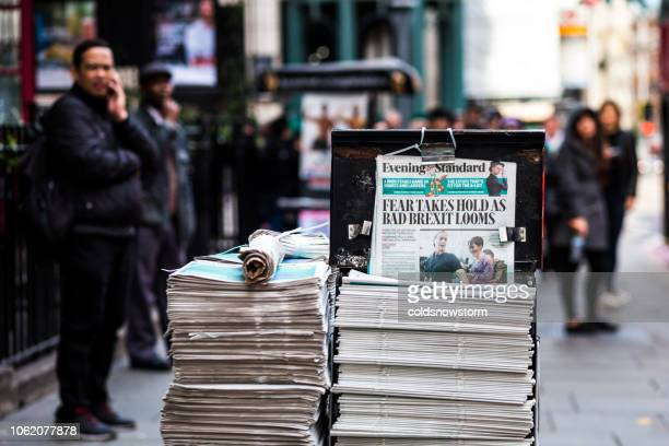 street newspaper stand with brexit headline, london, uk - brexit stock pictures, royalty-free photos & images