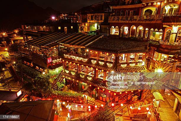 street night scene of juifan - taiwan stock photos and pictures
