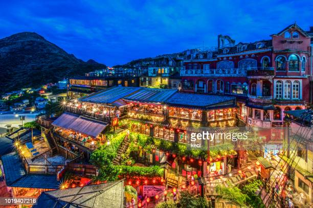 street night scene of juifen - new taipei city stock pictures, royalty-free photos & images