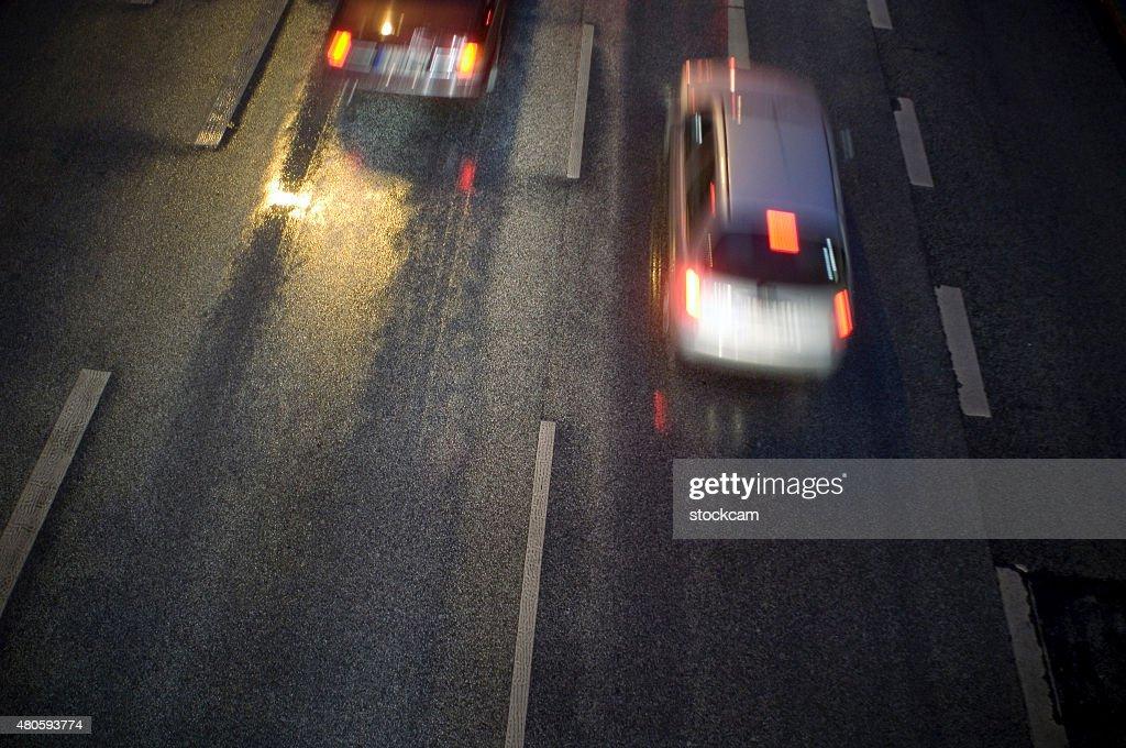 Street Night Scene with car traffic : Stock Photo