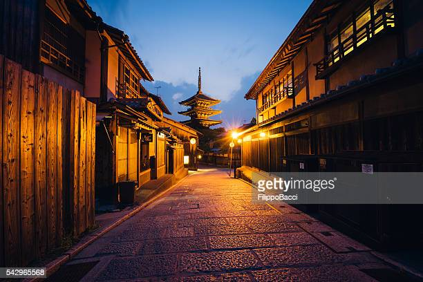 street of a traditional japanese city, kyoto - kyoto japan stock photos and pictures