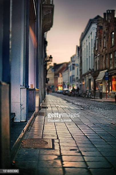 Street of city of Brugge (Belgium) at dawn