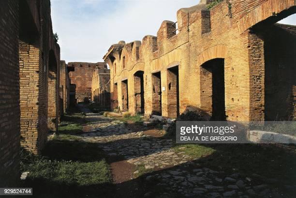 Street of Diana, Ostia Antica, Lazio, Italy. Roman civilisation.