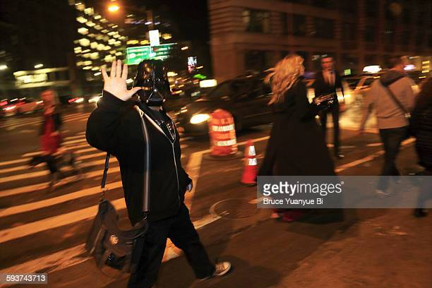 street of lower manhattan at halloween night - star wars stock pictures, royalty-free photos & images