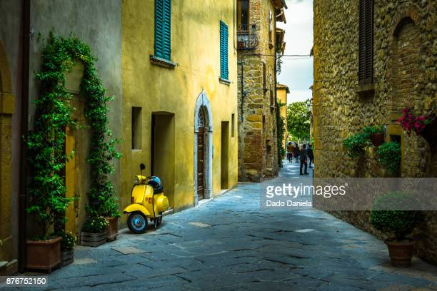 street of pienza - siena italy stock photos and pictures