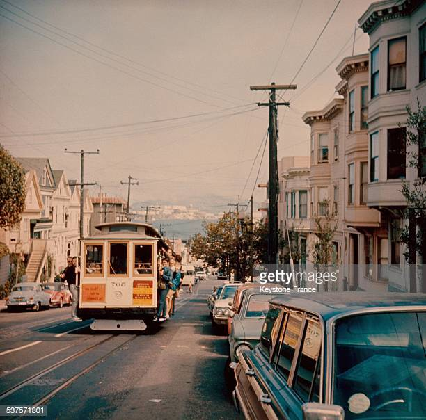 Street of San Francisco California overlooking the bay in the seventies