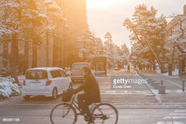 Street of Sendai with bicycle man