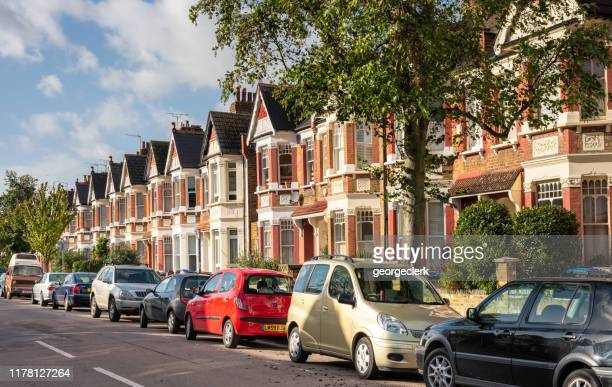 street of terraced houses in london - north stock pictures, royalty-free photos & images